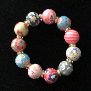 "Colorful clay resin 6"" stretch bracelet."